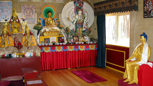 Maitreya Statue in temporary gompa, Thubten Shedrub Ling, Victoria, Australia, April 2012