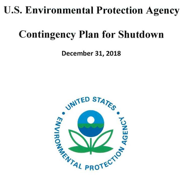 Cover sheet for the document, 'U.S. Environmental Protection Agency Contingency Plan for Shutdown, December 31, 2018'. Graphic: EPA