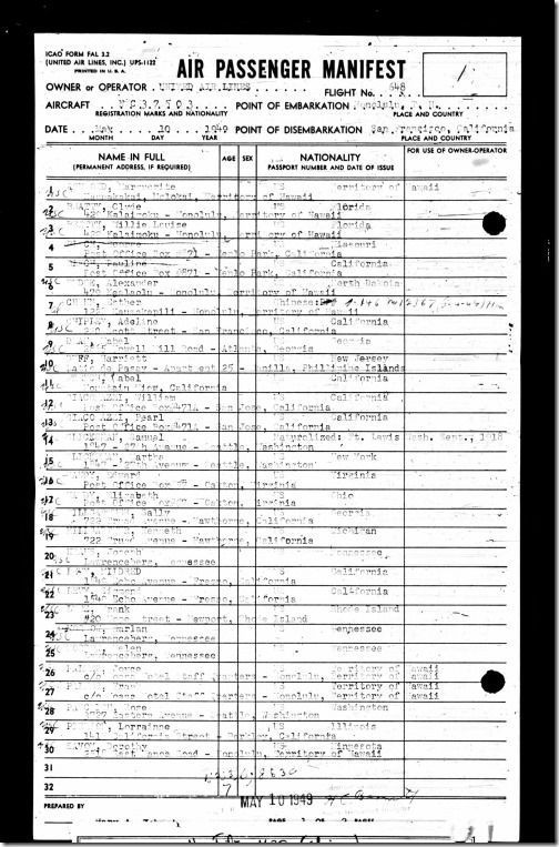 Passenger List HNL_SFO United Airlines 5_10_1949