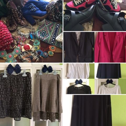 Chalecos, collares, fulares, zapatos vistosos, pendientes y anillos,complementos