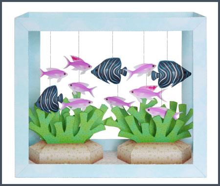 Aquarium Papercraft Koran Angelfish Purple Anthias