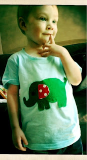 Blake Preston Clement wearing his finished handmade elephant applique toddler tshirt