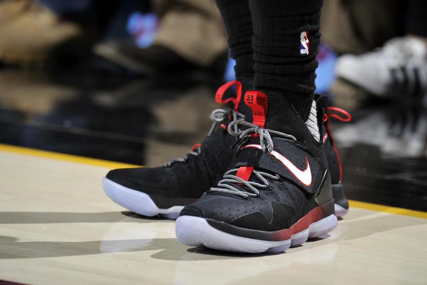 best website 52485 a461d ... LeBron James Rocking Again New Nike LeBron 14 Debuts Breds