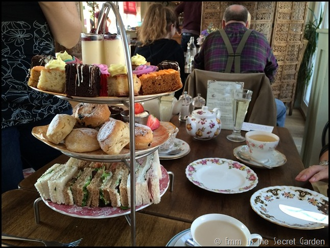The afternoon tea stand at the Secret Garden Kent