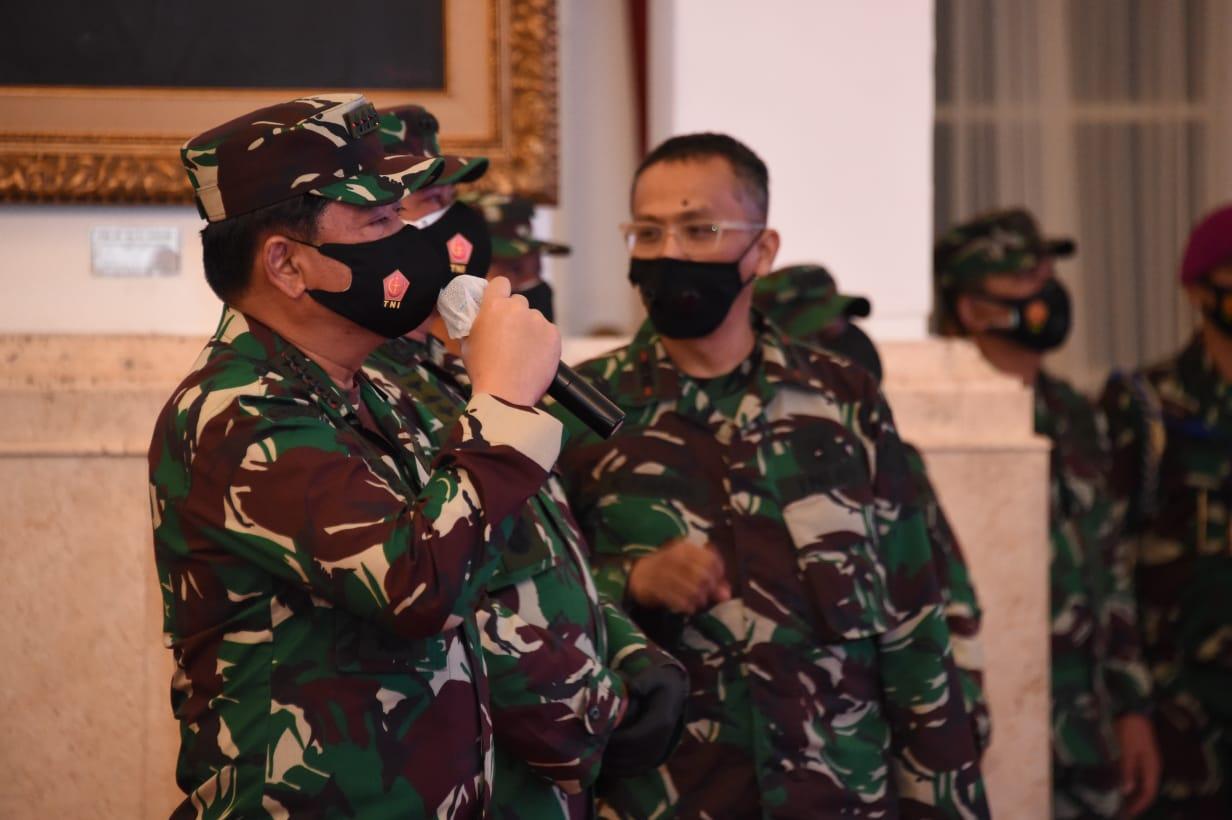 Panglima TNI Tinjau Gladi Bersih Jelang HUT Ke-75 TNI di Istana Negara