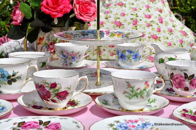 Summer's Glory eclectic vintage tea set and cake stand