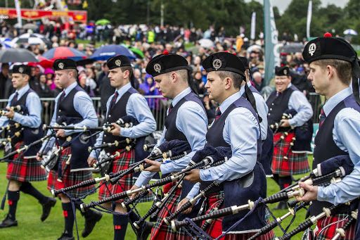 Field Marshall Montgomery Pipe Band participating in the World Pipe Band Championships in Glasgow, Scotland.