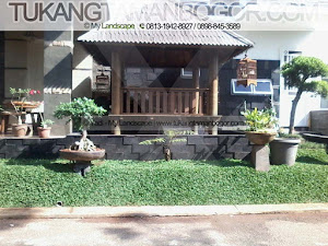 Tukang Taman Tangerang Murah & Profesional - Taman Rumput Minimalis Beserta Gazebo Diatas Kolam Ikan Harga Murah Di Tangerang