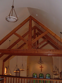 The trusses were sanded and finished in place by the crew who built the chapel.