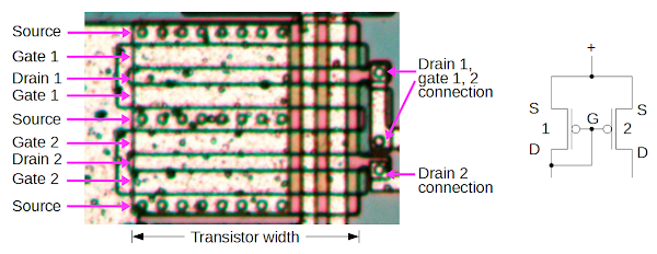 Two pairs of PMOS transistors in the LMC555 chip form a current mirror.