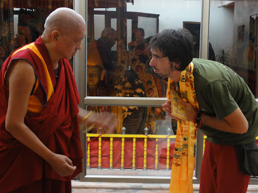 Lama Zopa Rinpoche and Osel, Kopan Monastery July 2011