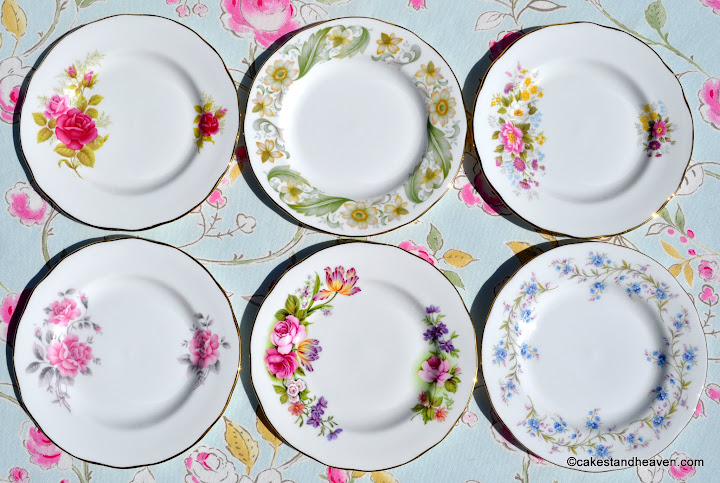 Duchess pretty floral vintage tea plates