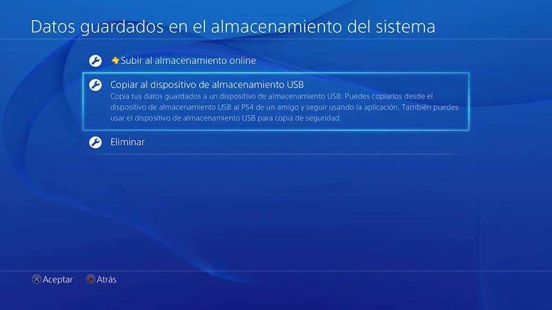 copiar datos guardados en una PS4