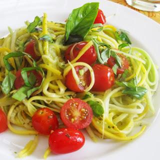 Fresh Tomato, Basil and Lemon Zucchini Pasta.