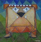 127 - Le Banquier - 2005 60 x 60 - Acrylique technique mixte sur toile