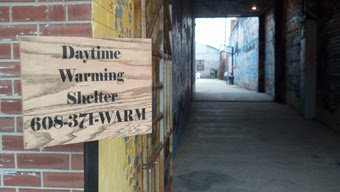 The entrance to the Daytime Warming Shelter.
