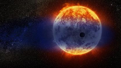 ilustração de uma nuvem gigante de hidrogênio oriunda de um planeta quente
