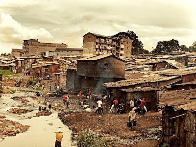 Mathare Slums in Nairobi, Kenya. 500,000 people live here.