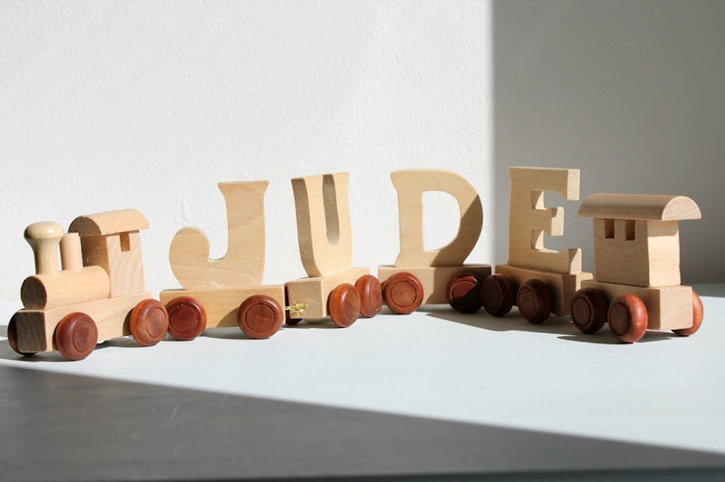 wooden name train letters toy