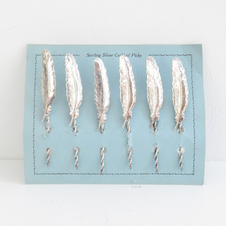 Sterling Silver Feather Cocktail Pick Set