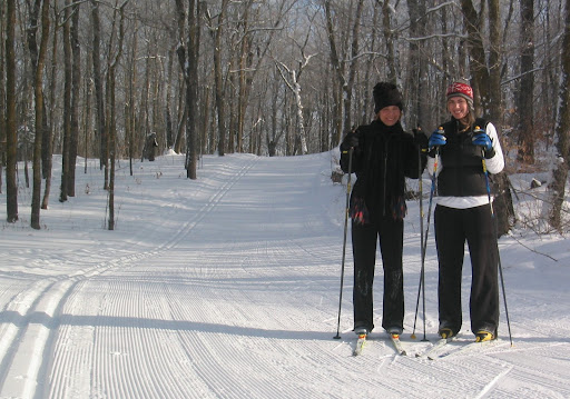 Enjoying fresh groomed trails.