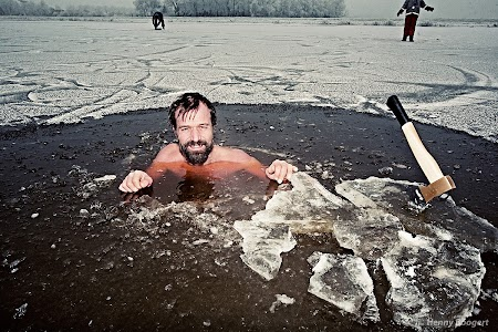 Wim Hof aka The Iceman training in somewhere in the Netherlands.