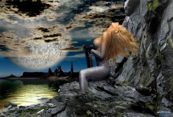 Mermaid On Grey Stones, Undines
