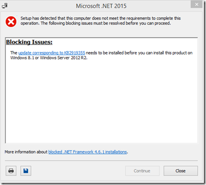 .NET update failed