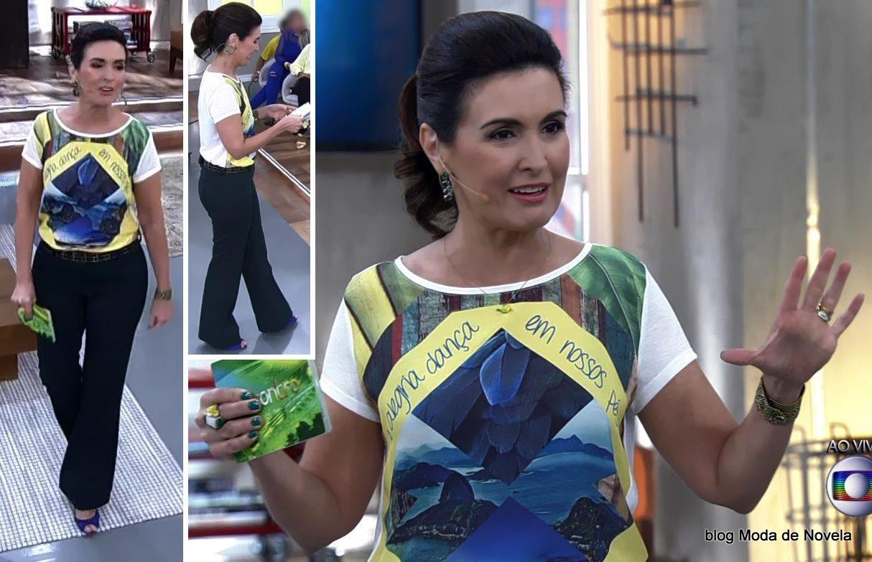 """moda do programa Encontro - look """"verde e amarelo"""" da Fátima Bernardes no dia do jogo do Brasil na Copa"""