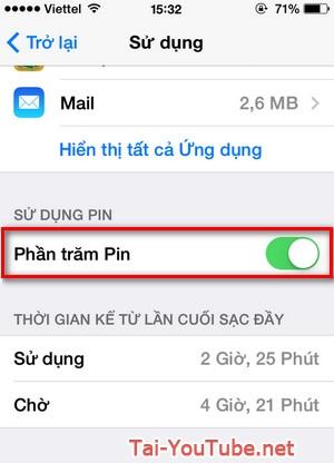 Hình 2 - Hướng dẫn cách hiển thị phần trăm pin trên thiết bị iPhone