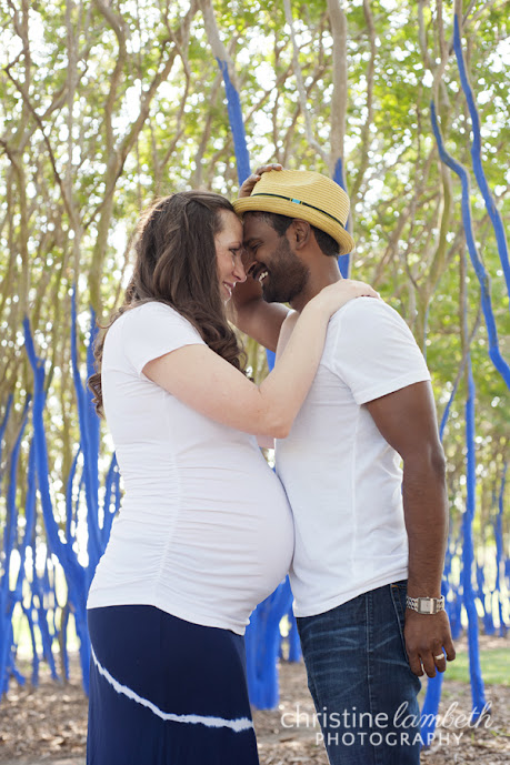 Bethany and Saby maternity in the blue trees - Houston