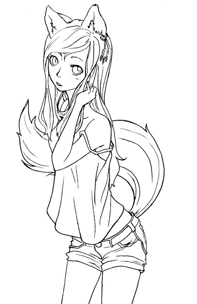 Fox Girl Lineart By Komorinightdeviantart Digital Stampscoloring  Pagescoloring Sheetsadult