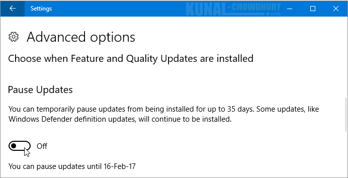 Pause an update for 35 days in Windows 10 (www.kunal-chowdhury.com)