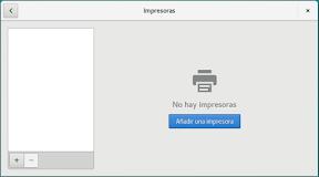 Configurar el hardware en GNOME. Impresoras. Añadir.