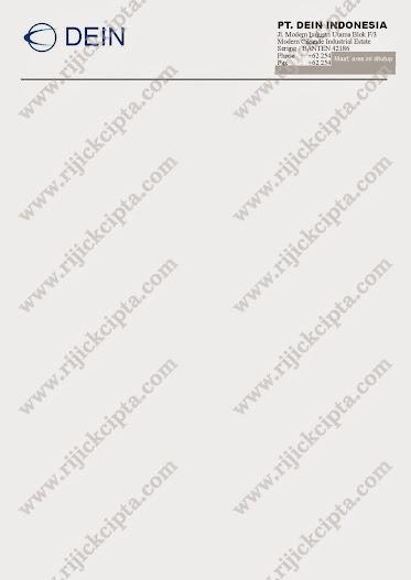 Contoh cetakan kop surat PT. Dein Indonesia, Perusahaan Injection Plastic Moulding di Serang Timur, Cikande