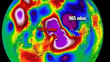 Μια ακραία διαφορά της ατμοσφαιρικής πίεσης άνω των 100mbar, απελευθερώνει την αρκτική μάζα αέρα στην Ευρώπη