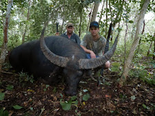 2 double rifles, thick bush and a huge bull of over 100 SCI. Hard to beat that! This bull took a pounding with over 8 shots required to bring him down.