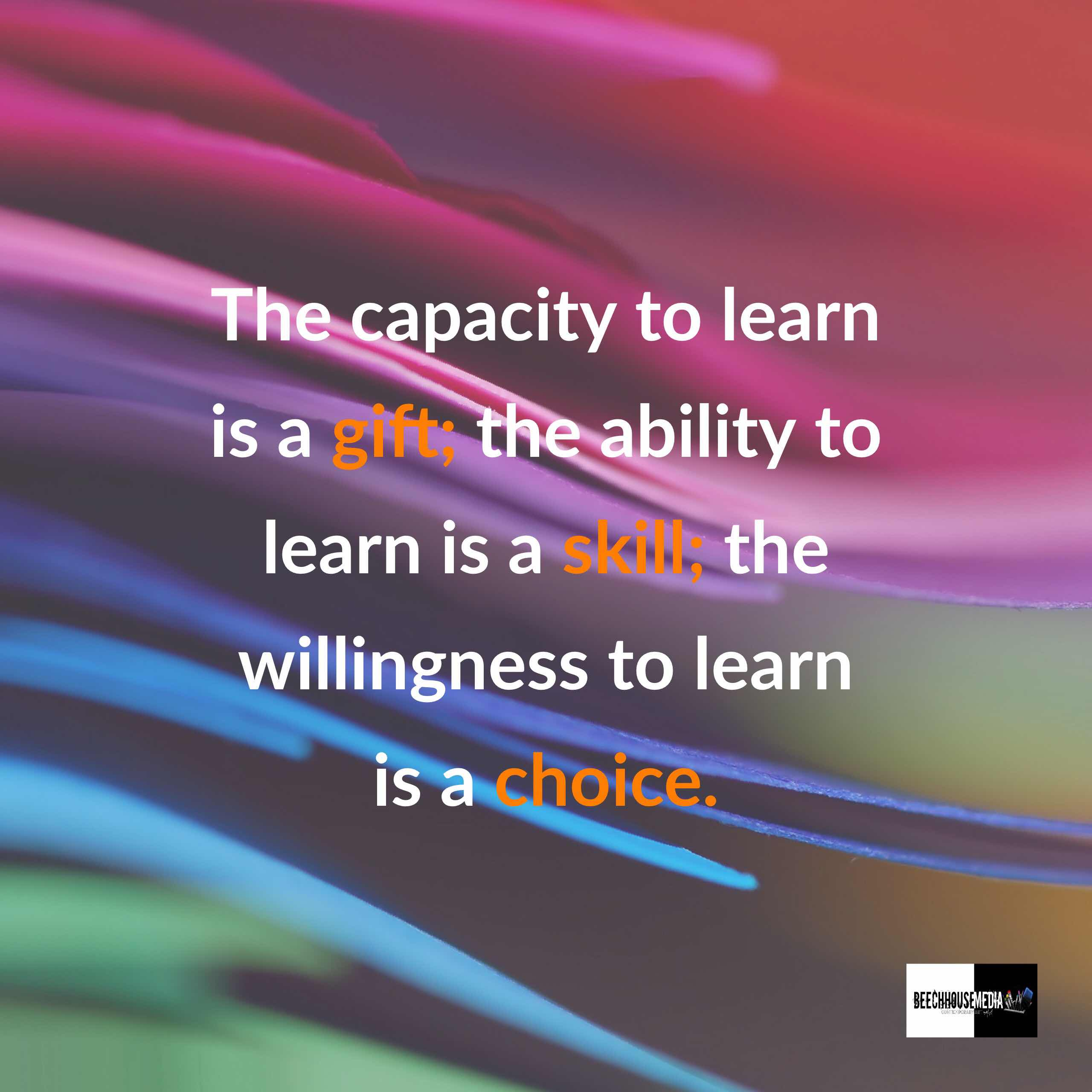 capacity to learn is a gift and a choice