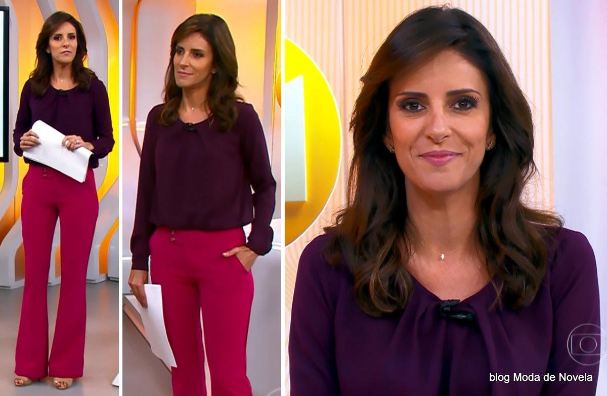 moda do programa Hora 1, look da Monalisa Perrone dia 19 de janeiro de 2015