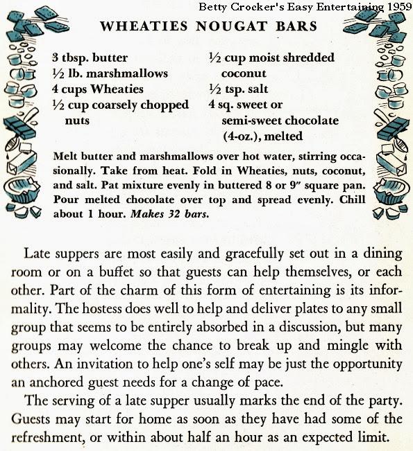 Wheaties Nougat Bars | Betty Crocker's Easy Entertaining 1959