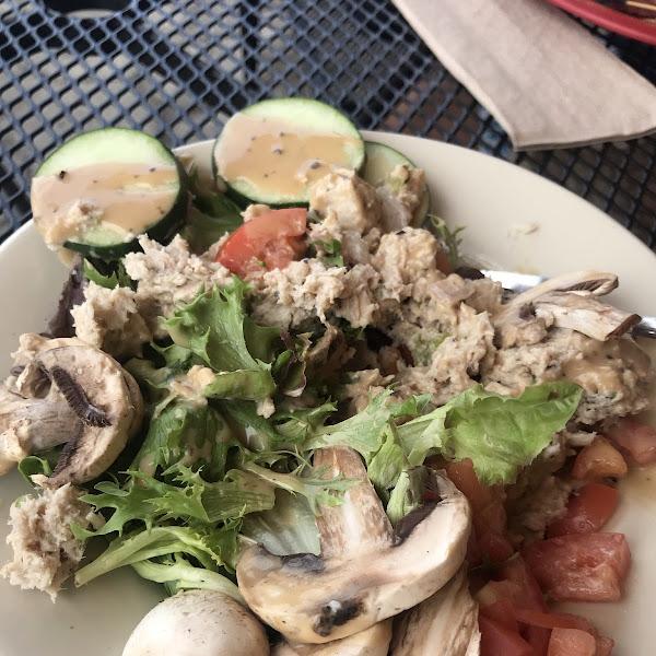 Chicken Salad with walnuts, cilantro and mango chutney.