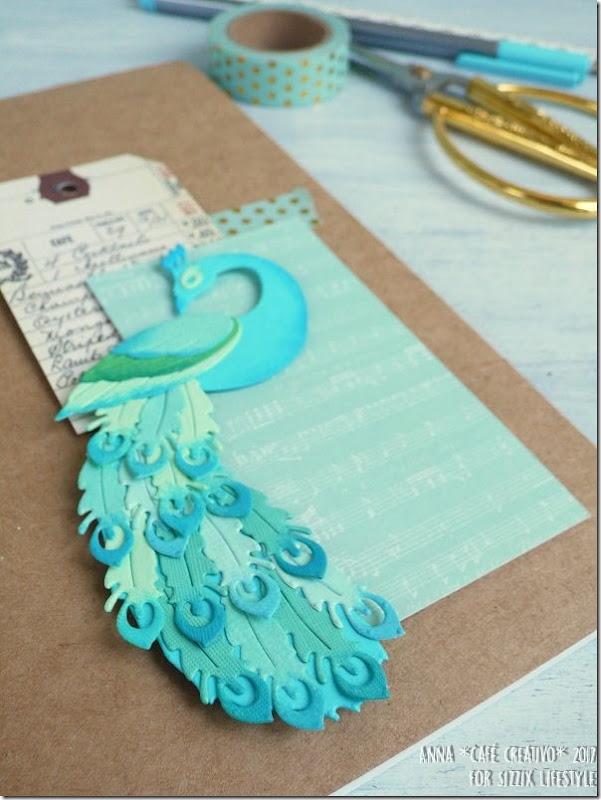 Usare Big Shot e Fustelle Sizzix per creare un notes decorato con pavone