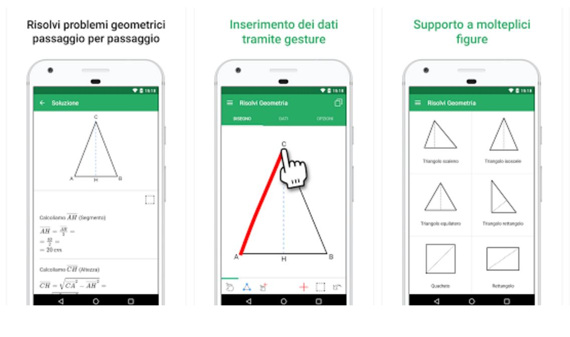 un app per risolvere problemi di geometria android ios