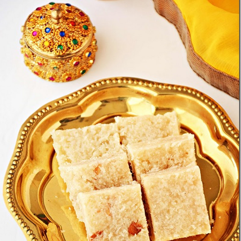 Coconut burfi / Thengai burfi / Nariyal burfi / Coconut burfi with sugar/ How to make easy burfi with coconut / Recipe with video