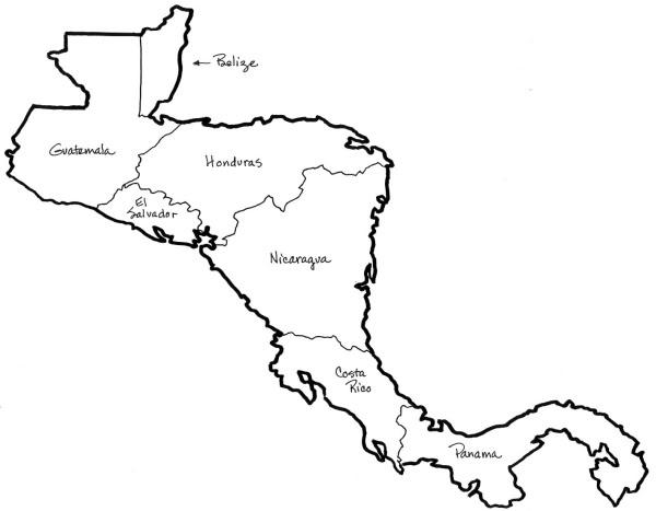 Mapa de Centroamérica para colorear con nombres