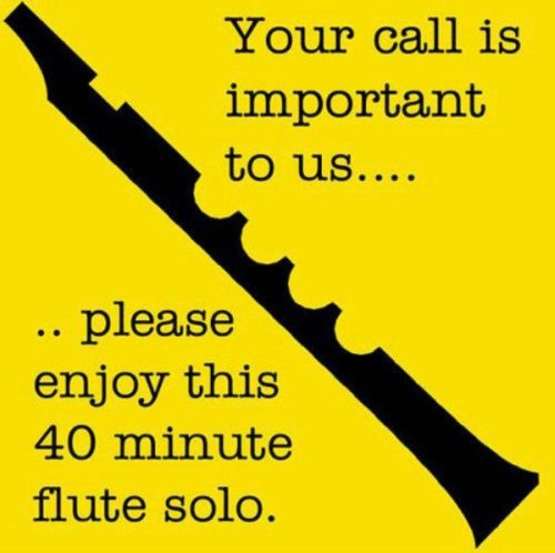 Your call is important to us poster. Please enjoy the 40 minute flute solo