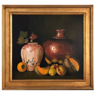 Peter Fraenkel 'Stork Vase with Berries' Still Life Oil Painting