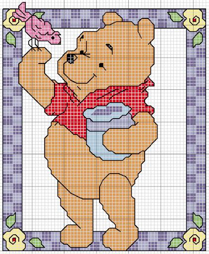 Schemi a punto croce con i personaggi dei cartoni animati for Winnie the pooh punto croce