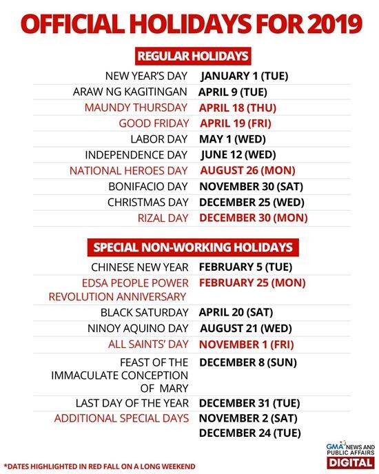 2019 Philippine Holidays