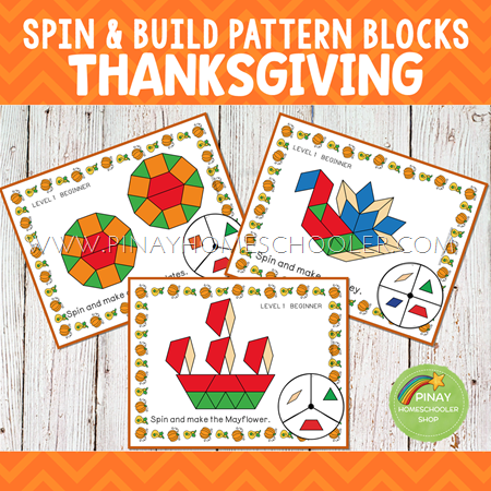 Thanksgiving Themed Spin and Build Pattern Blocks Game